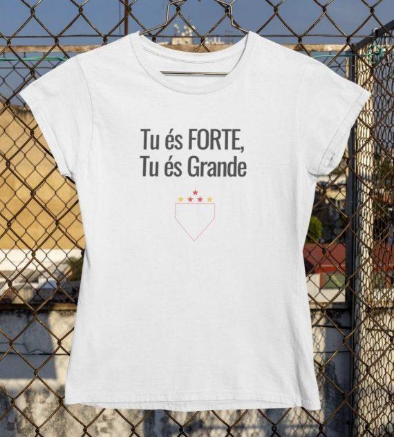 Camiseta Baby Look Tu es forte tu es grande branca