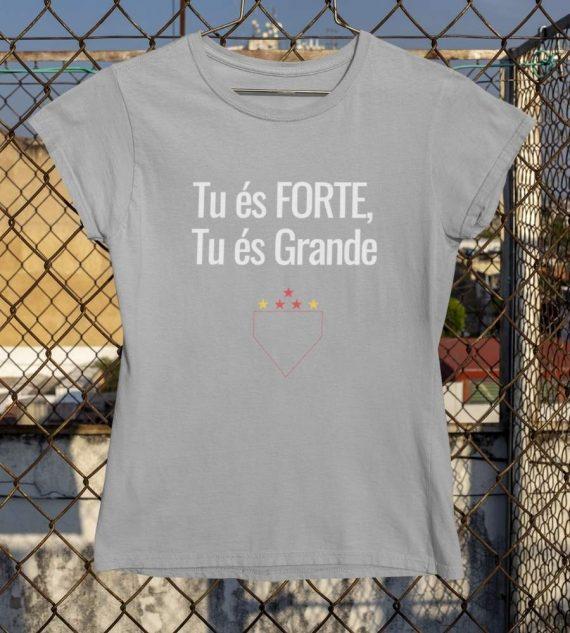 Camiseta Baby Look Tu es forte tu es grande cinza