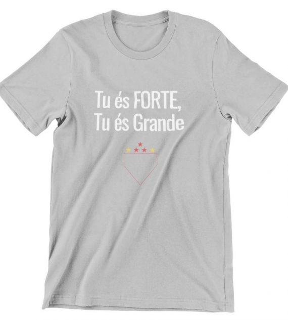 camiseta tu es forte tu es grande cinza